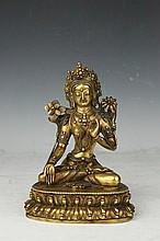 Tibetan Gilt Gold Bronze White Tara Buddha Statue