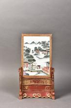 A FAMILLE ROSE LANDSCAPE SCREEN, PAINTED BY WANG XIAOTANG, REPUBLIC PERIOD