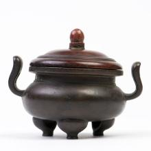 A BRONZE CENSER WITH STAND WITH XUANDE MARK, QING DYNASTY, 18TH CENTURY
