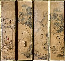 WANG SU (1794-1877), A SET OF FOUR PAINTINGS OF BEAUTIES
