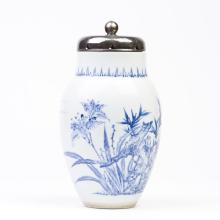 A Blue and White Ovoid Lotus Jar and Cover