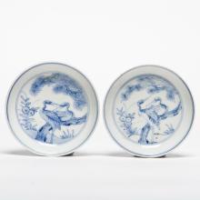 A Pair of Blue and White Crane and Pine Dish