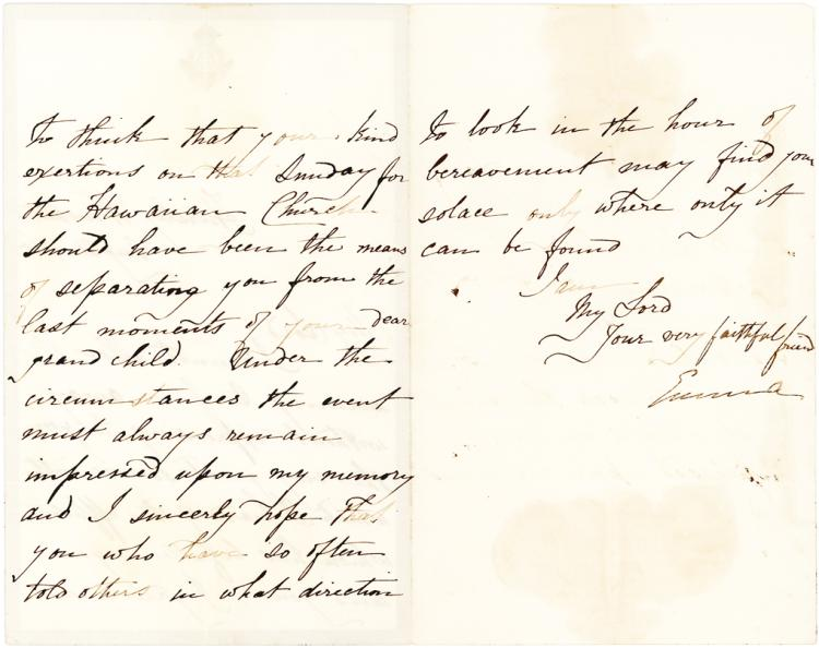 Rare Letter from Emma, Queen of Hawaii about the Hawaiian Church
