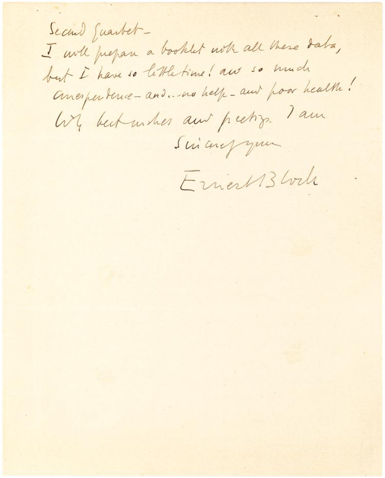 Swiss Composer Ernest Bloch Autograph Letter Mentioning a Number of His Compositions