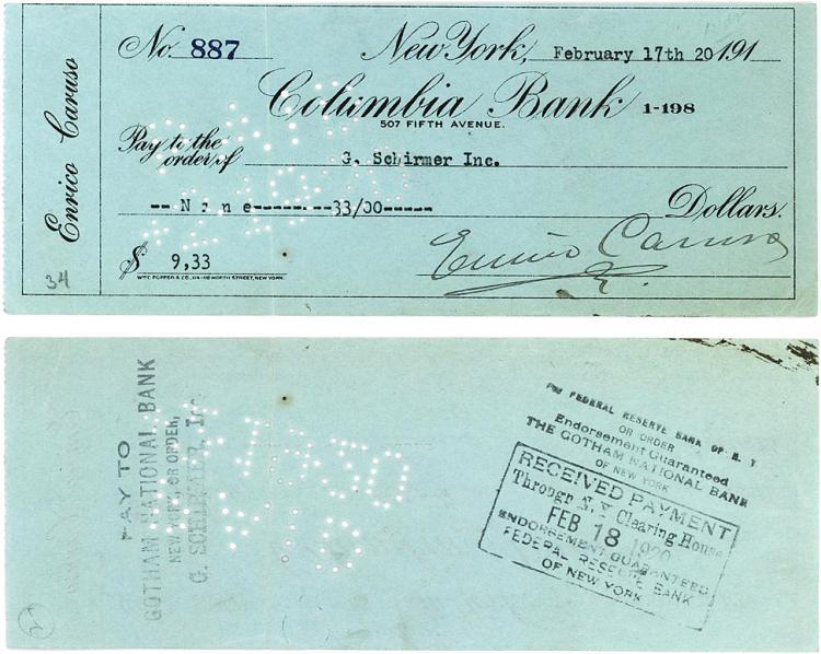 Rare & Desirable Enrico Caruso Check Payable to Music Publisher G. Schirmer