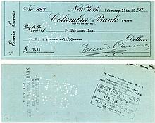 Rare & Desirable Enrico Caruso Check Payable to Music Publisher G. Schirmer