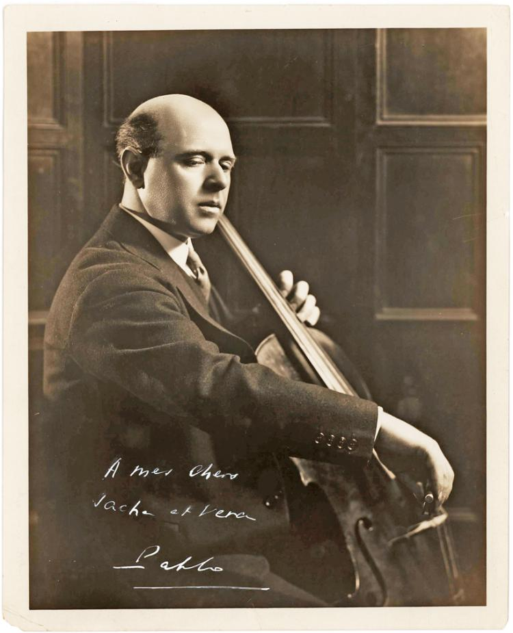 Magnificent Signed Photograph of Pablo Casals Playing his Cello