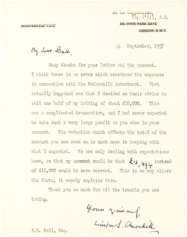 Financially Related Winston Churchill Letter about his