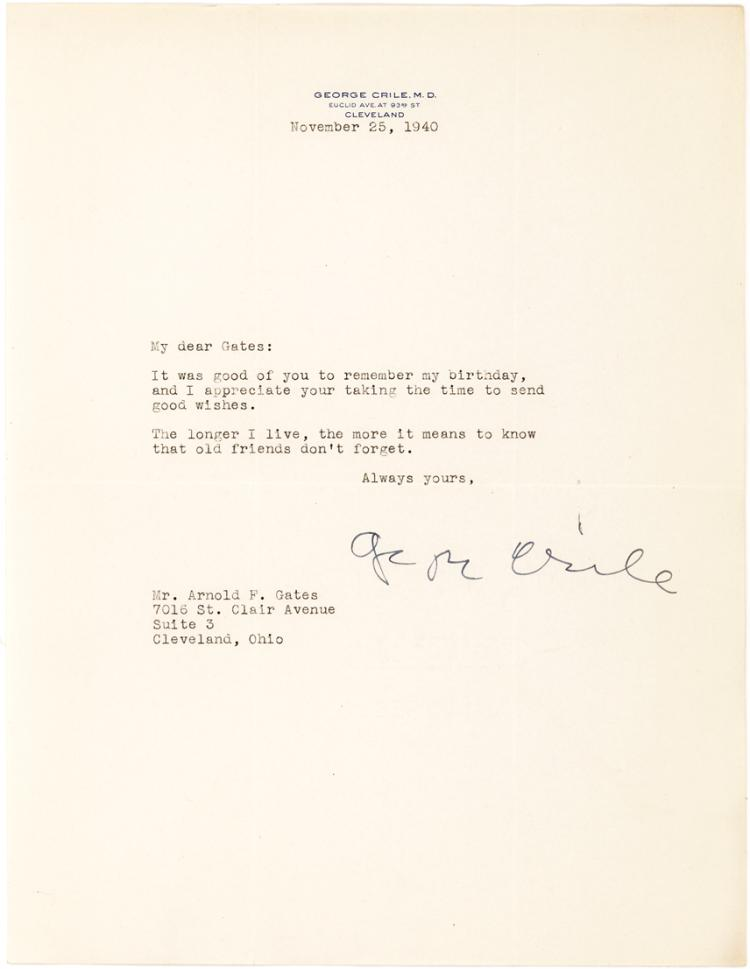 Scarce letter by Dr. George Crile, 1st to Perform a Successful Blood Transfusion