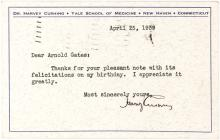 Rare Harvey Cushing Note Sending Thanks for (His Last) Birthday Wishes