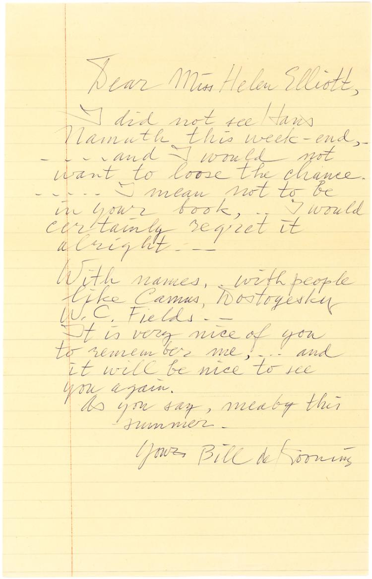 Rare Autograph Letters Signed by Willem de Kooning, Dutch Abstract Expressionist Painter
