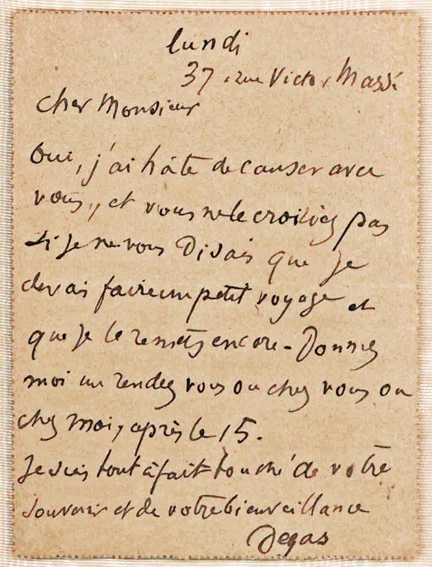 Uncommon Autograph Letter by Edgar Degas, Leading Impressionist Painter