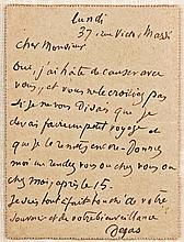 Uncommon Autograph Letter by Edgar Degas, Leading Impressionist Painter