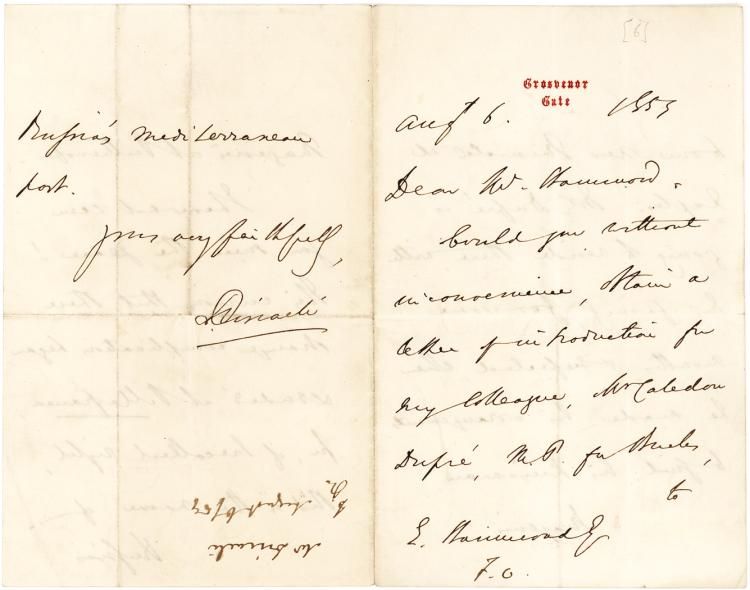 Benjamin Disraeli Autograph Letter to the Under-Secretary of Foreign Affairs Edmund Hammond