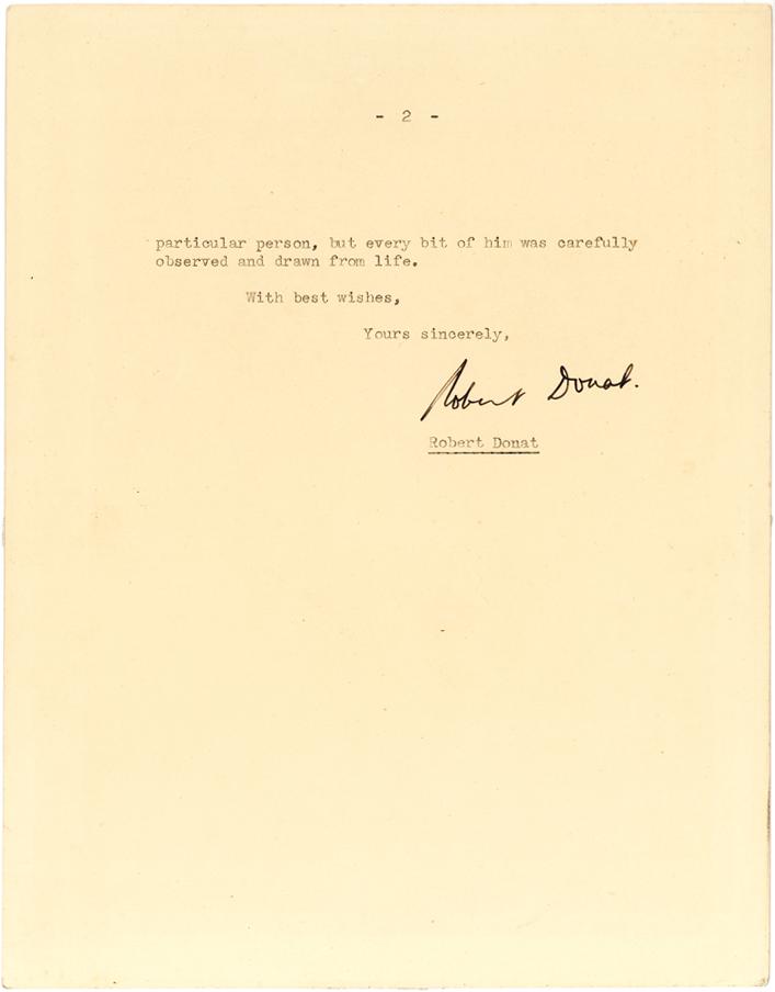 Revealing Letter by Robert Donat, Star of Goodbye, Mr. Chips: