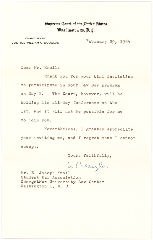 Letter Signed by Justice William O. Douglas on Supreme Court Letterhead