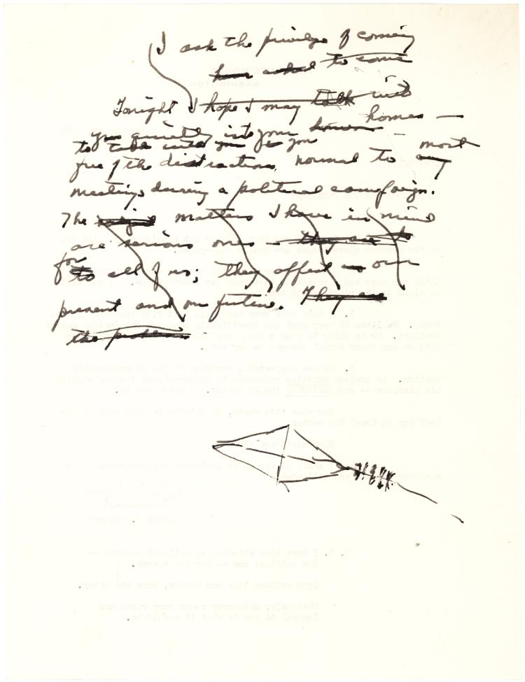President Eisenhower Autograph Manuscript Fragment Announcing his 1956 Re-Election Bid