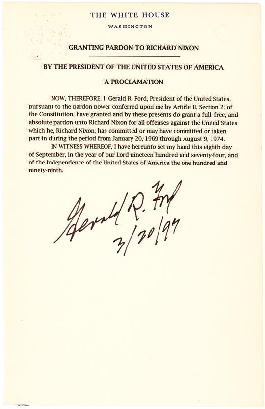 Souvenir Typescript signed By Gerald Ford of his Nixon Pardon