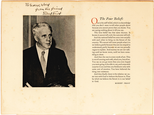 Uncommon Robert Frost Signed offprint
