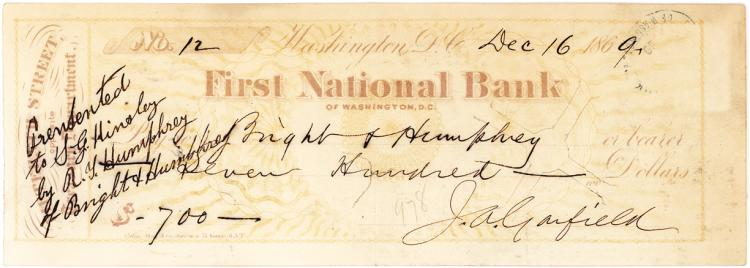 Check Signed by Future U.S. President James A. Garfield