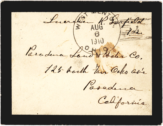 Hand Addressed Free Frank by Former First Lady Lucretia Garfield