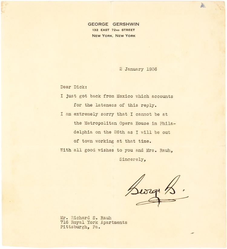 Fine George Gershwin Typed Letter Signed Announcing His Return from Mexico