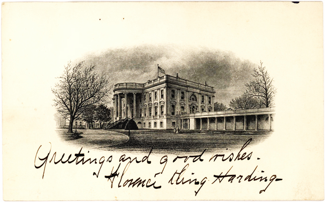 First Lady Florence Harding Inscribed Illustrated Executive Mansion Card