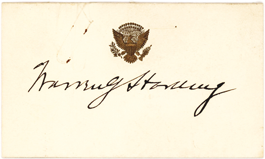President Warren G. Harding Signed Card Headed by the Gold Embossed Great Seal of the United States