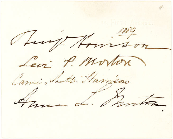 Unusual Card Signed by President Harrison, Vice-President Morton and Their Respective Wives
