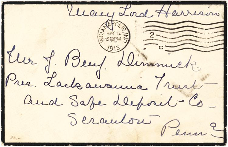 First Lady Mary Lord Harrison Free Frank on a Black-Bordered Envelope