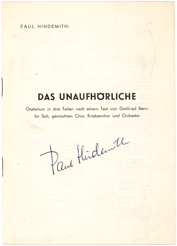 Signed Libretto for Paul Hindemith's Choral Work,