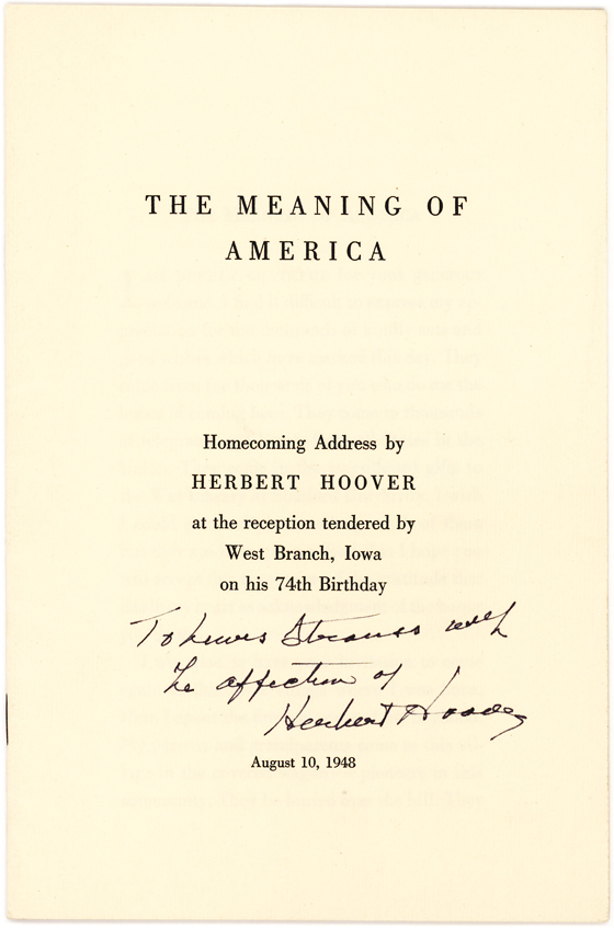 Herbert Hoover Inscribed Pamphlet