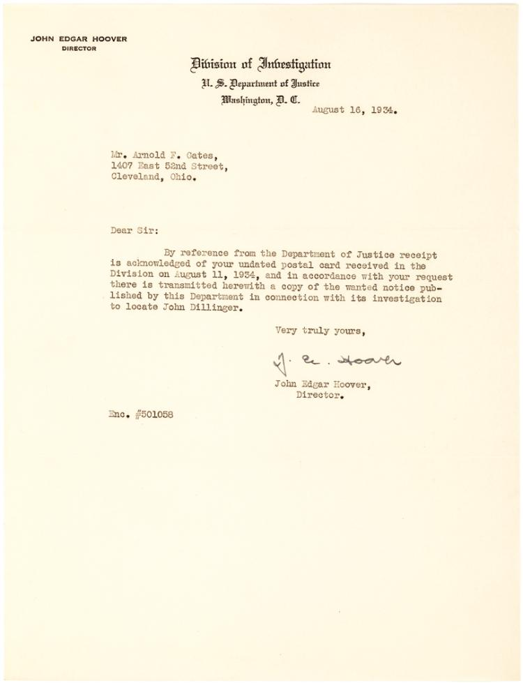 J. Edgar Hoover Transmits