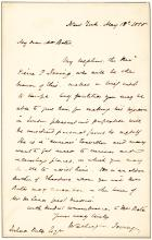 Fine Washington Irving Autograph Letter Signed to Introduce His Nephew to Businessman Joshua Bates in London