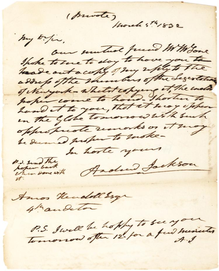 Andrew Jackson Autograph Letter Signed as President to Telegraph Magnate Amos Kendall