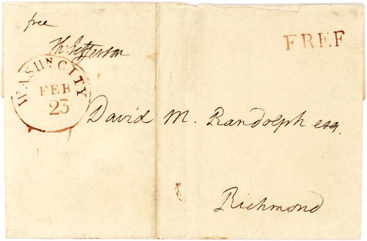 Stunning Thomas Jefferson Presidential Free Frank and Autograph Address to David Randolph