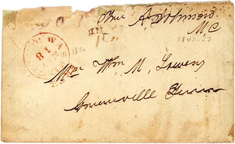 Uncommon Andrew Johnson Senatorial Free Frank with Autograph Address