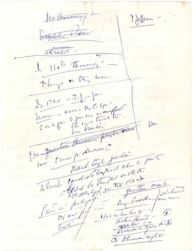 JFK's Autograph Notes for a 1960 Presidential Campaign Speech Mentioning the
