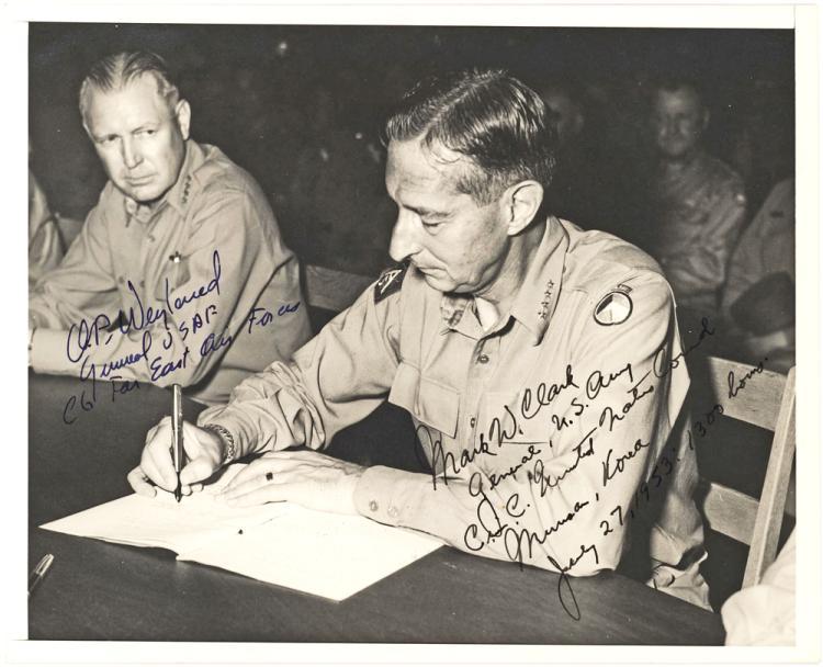 Rare Photograph of U.S. Generals Clark & Weyland Signing Korean Armistice