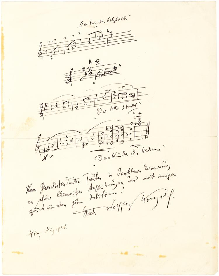 Four Musical Quotes by Korngold Inscribed to the Father of Tenor Richard Tauber