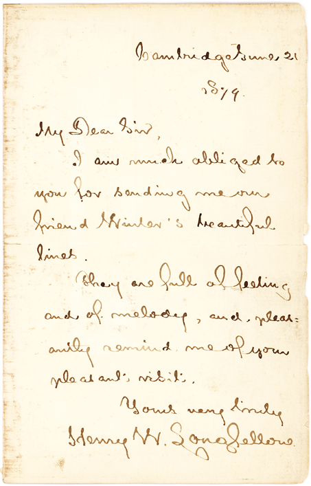Henry W. Longfellow Autograph Letter to Progenitor of Bohemian Club