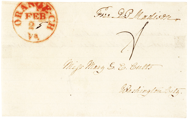 Dolley Madison Autograph Note & Free Frank to Her Niece & Biographer Mary Cutts