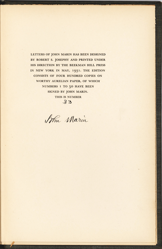 American Painter John Marin: One of Fifty Signed Copies of Letters of John Marin