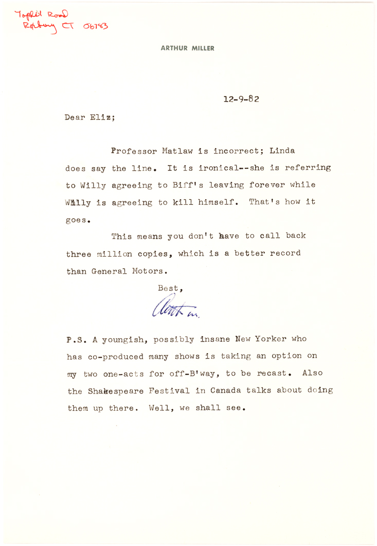 Arthur Miller Letter with Rare Reference to Most Famous Work, Death of a Salesman