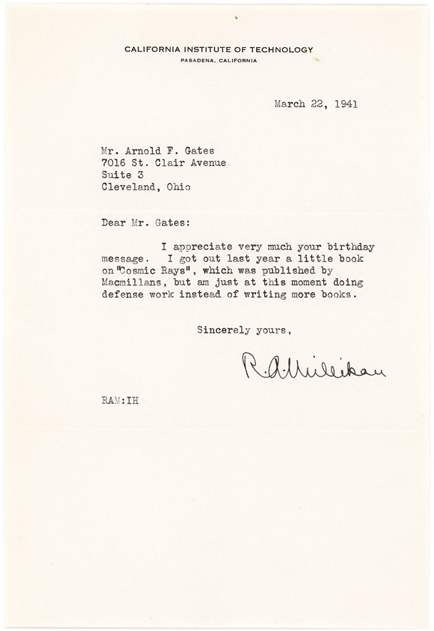 Nobel Prize Winner Robert Millikan 1941 Letter Citing His Book on Cosmic Rays
