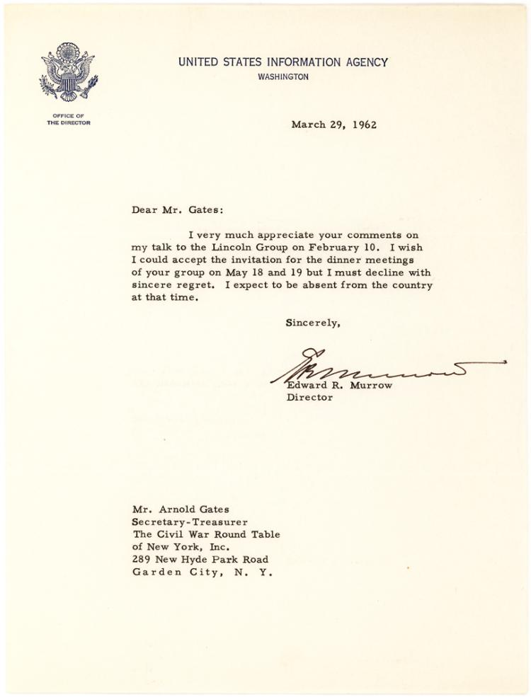 Uncommon Letter by Edward R. Murrow, Famous CBS News Radio and TV Personality