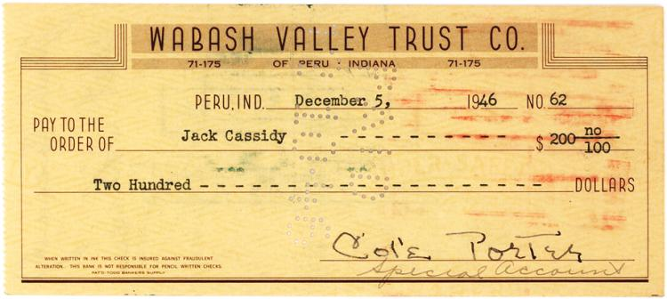 Cole Porter Signs $200 Check for Actor Jack Cassidy, His Young Boyfriend