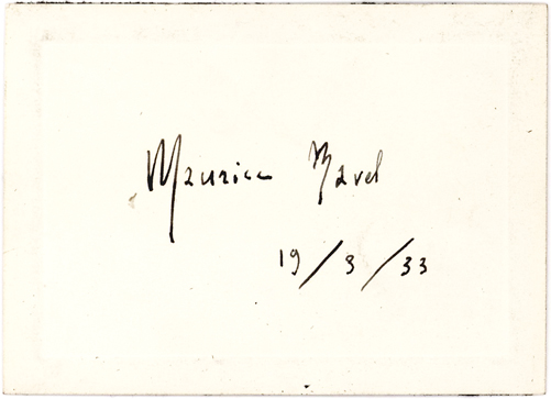 Maurice Ravel Elegantly Penned Black-Ink signature on Blind-Embossed card