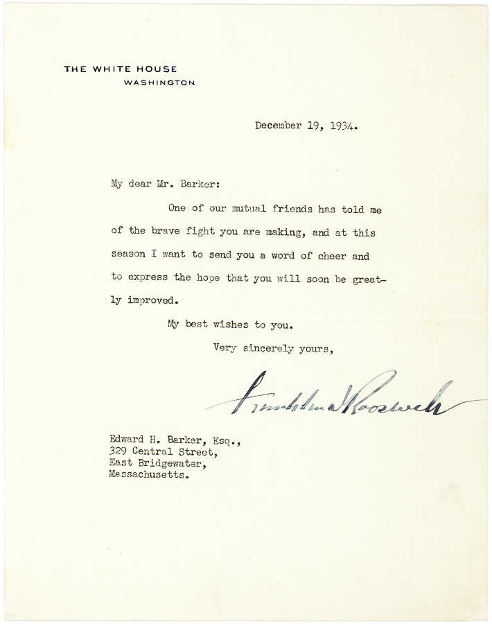 Pres. FD Roosevelt to Polio Victim and Inventor: The brave fight you are making