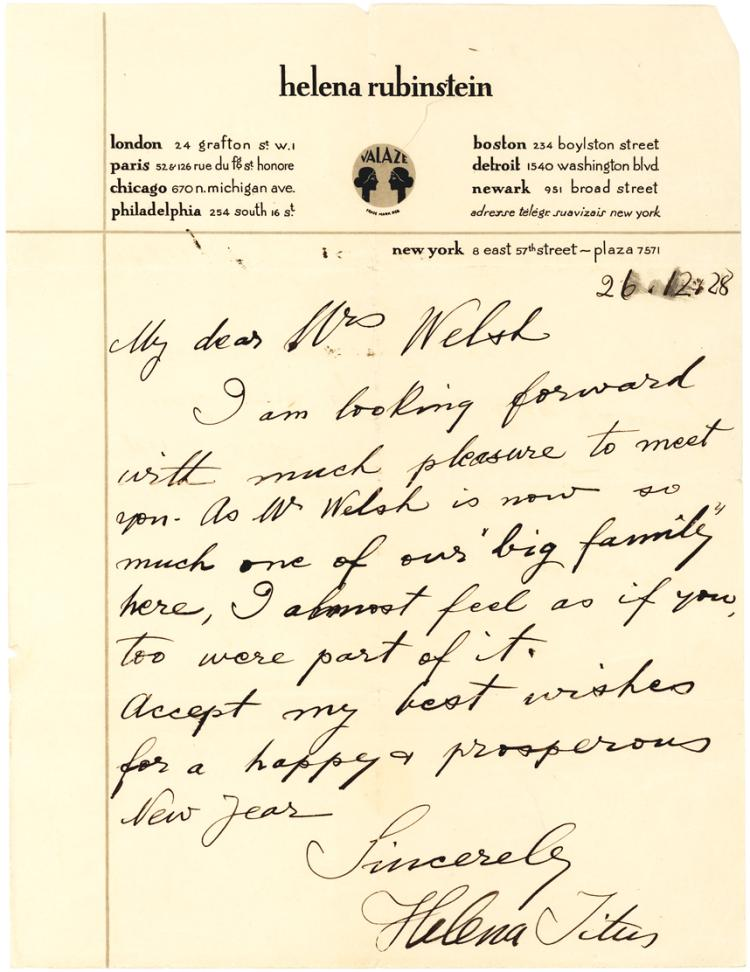 Rare 1928 Autograph Letter by Polish-American Cosmetics Queen Helena Rubinstein